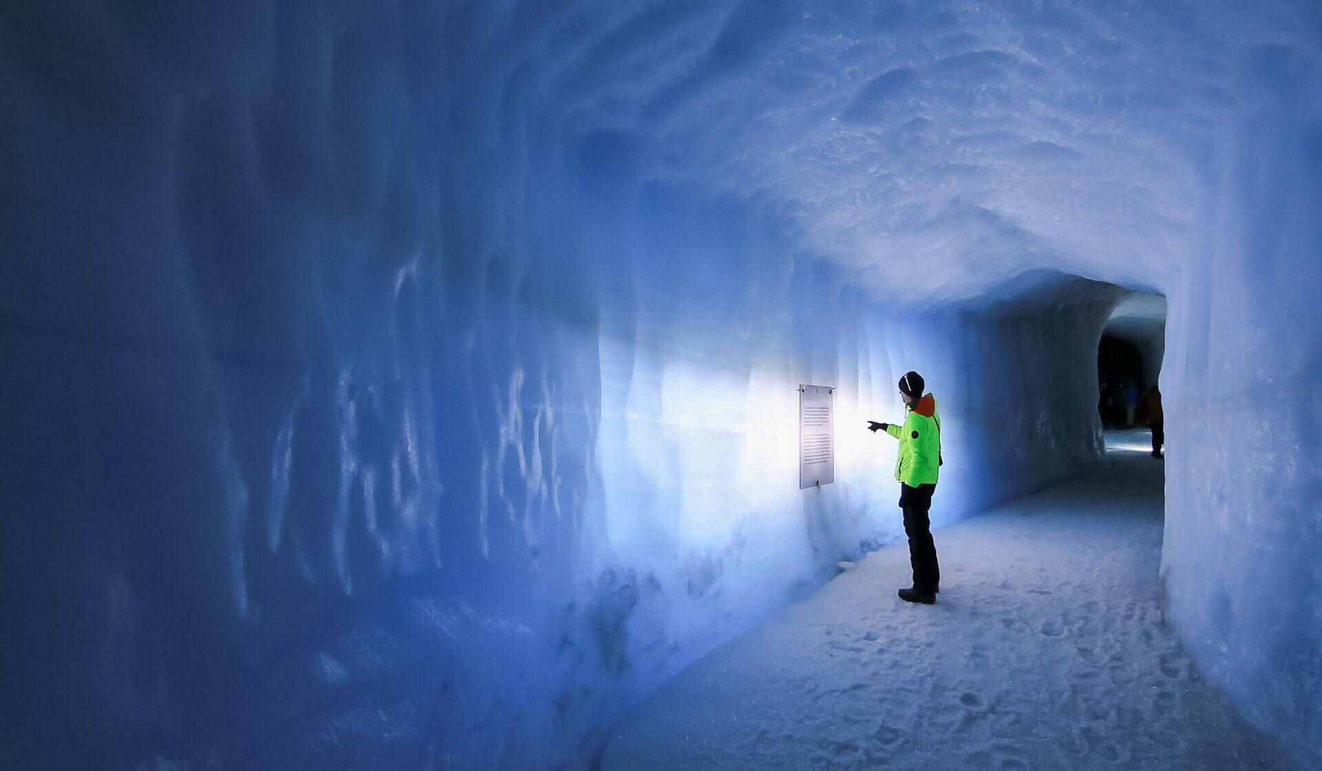 Into the glacier in iceland slider